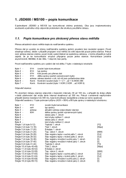 1. JSD600 / MS100 – popis komunikace