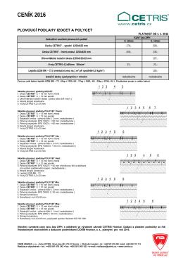 Ceník podlahových desek CETRIS PD, PDB, PDI a plovoucích podlah