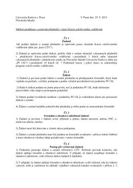 Sdělení proděkana o uznávání v CŽV - Právnická fakulta