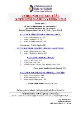 Vyhodnocení soutěže O nejlepší návrh výrobku 2015
