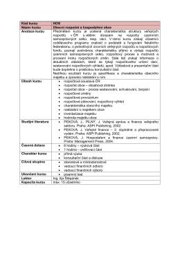 Kód kurzu HOS Název kurzu Obecní rozpočet a hospodaření obce