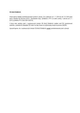 ČD BUS ŠUMAVA Informujeme držitele zaměstnaneckých jízdních