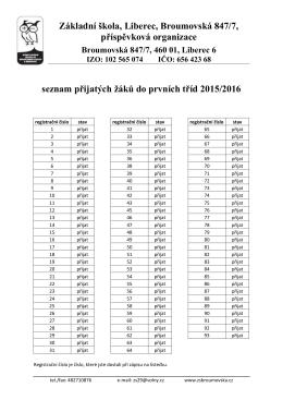 Základní škola, Liberec, Broumovská 847/7, příspěvková organizace