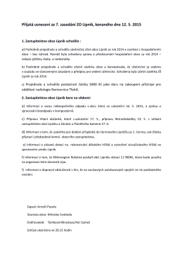 Přijatá usnesení ze 7. zasedání ZO Lipník, konaného