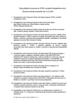 Výpis přijatých usnesení na XVIII. zasedání Zastupitelstva obce