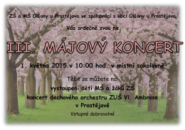 1. května 2015 v 10:00 hod. v místní sokolovně