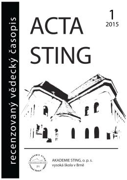 ISSN 1805-6873 - Akademie STING