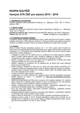 Rozpis soutěží řízených STK ČBF