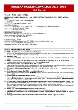 krajská hokejbalová liga 2015-2016 propozice