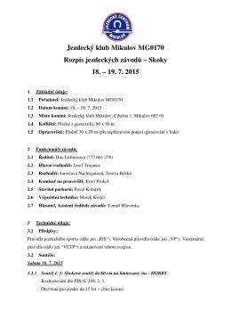 Jezdecký klub Mikulov MG0170 Rozpis jezdeckých závodů – Skoky