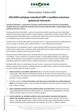 EKO‑KOM zveřejňuje rozhodnutí MŽP o neudělení autorizace