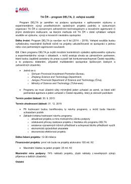 TA ČR – program DELTA, 2. veřejná soutěž