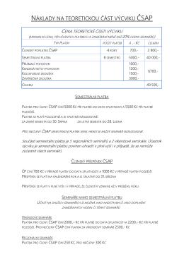 Informace o ceně výcviku