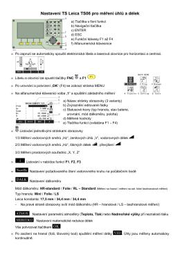 Nastavení TS Leica TS06 pro měření úhlů a délek