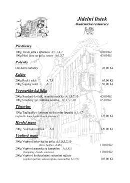 Jídelní lístek Akademické restaurace