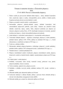 Témata k maturitní zkoušce z Železniční přepravy obor 37-41