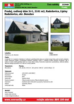 Prodej, rodinný dům 3+1, 2101 m2, Radošovice, Lipiny Radošovice