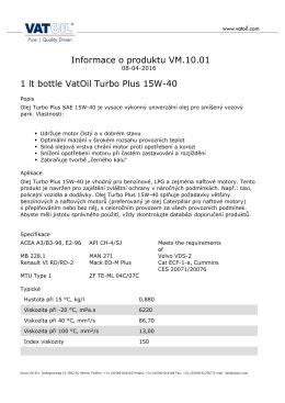 Informace o produktu VM.10.01 1 lt bottle VatOil Turbo - Kroon-Oil