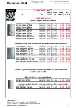 Kotle VAILLANT - ceník - DANEX
