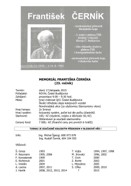 MEMORIÁL FRANTIŠKA ČERNÍKA 2015