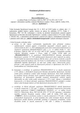 PRAGOPROJEKT_Oznámení představenstva podle § 384