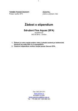 Žádost o stipendium Sdružení Flos Aquae (SFA)