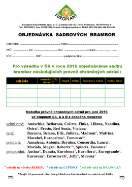 Objednávka přehled odrůd - EUROPLANT šlechtitelská, spol. s ro
