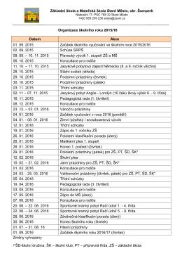 Organizace šk.roku 2015-16 - Základní škola Staré Město.