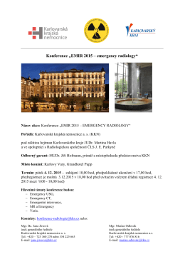 "Konference ""EMIR 2015 – emergency radiology"""