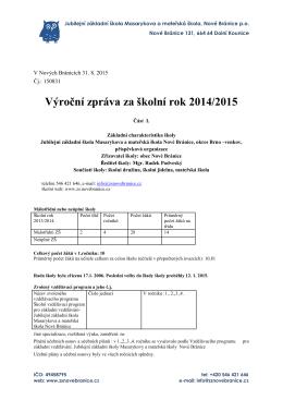 Výroční zpráva za školní rok 2014/2015