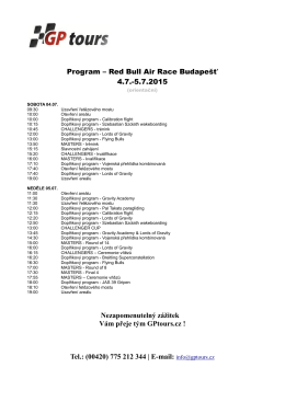 Program – Red Bull Air Race Budapešť 4.7.