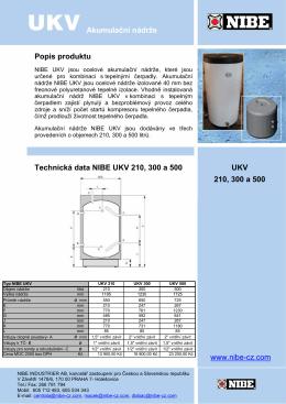 Akumulační nádrže Popis produktu Technická data NIBE UKV 210