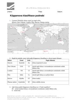 Köppenova klasifikace podnebí