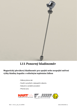 L11 Ponorný hladinoměr Magnetický plovákový