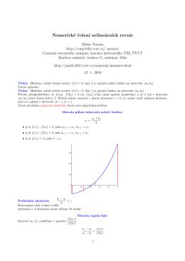 Numerické řešení nelineárních rovnic