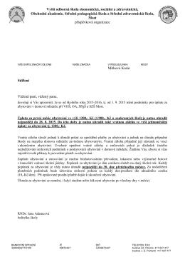 Informační dopis o změně úhrady za ubytování. - DM
