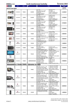 Ceník Videotelefonů Červenec 2015
