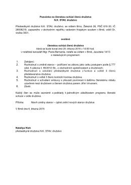 Schůze členů družstva v PDF