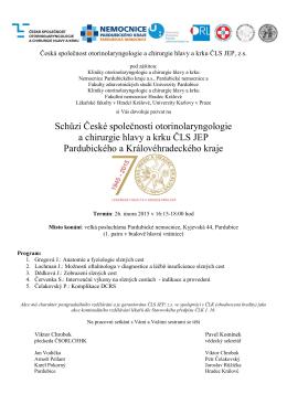 Schůze - Česká společnost otorinolaryngologie a chirurgie hlavy a