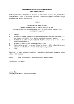 8.3. 2015 - Pozvánka na členskou schůzi členů družstva