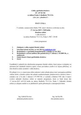 Pozvánka na členskou schůzi 17.6.2015