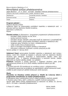 Zápis z mimořádné schůze představenstva č.08 2015