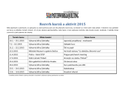 Kalendář kurzů a aktivit v roce 2015 ke stažení