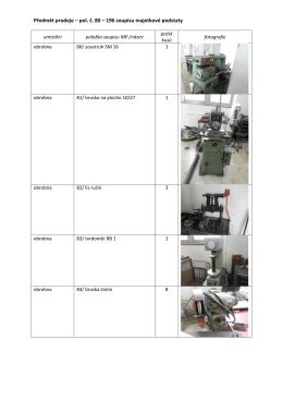 seznam stroje včetně fotografií