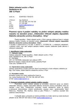 Výzva k podání nabídky - Státní oblastní archiv v Plzni