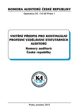 Vnitřní předpis pro kontinuální profesní vzdělávání auditorů