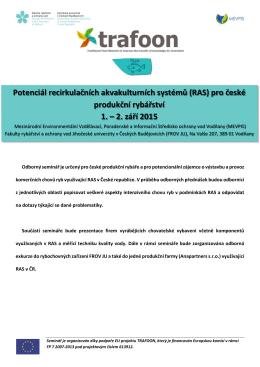 Potenciál recirkulačních akvakulturních systémů (RAS