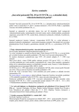 """Závěry semináře """"Inovační potenciál ČR, 25 let SVTP ČR, z.s. a"""