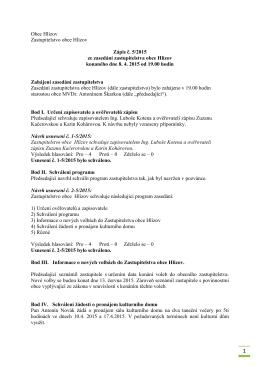 Zápis č. 5/2015 ze zasedání zastupitelstva obce dne 8