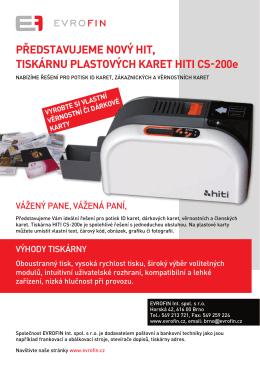 představujeme nový hit, tiskárnu plastových karet hiti cs-200e